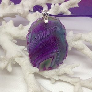Purple & Green Agate Slice Necklace on Waxed Cord